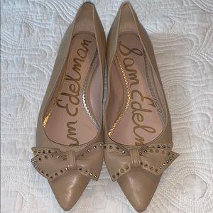 Sam Edelman Raisa Tan Leather Spike Bow Flats